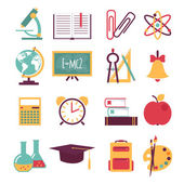 Set of flat education icons — Stock Vector