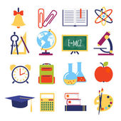 Vector flat school icons — Stock Vector