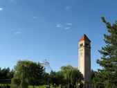 Clock Tower and Pavillion Riverfront Park Spokane Washington — Stock Photo