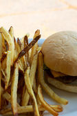 Cheeseburger and Fries on a Plate — Stock Photo
