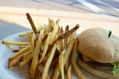 Cheeseburger and Fries on a Plate Outdoors — Stock Photo