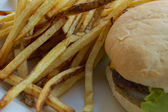 French Fried Potatoes and a Cheeseburger — Stock Photo
