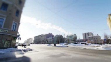 Winter traffic — Stock Video