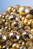 Golden christmas balls — Stock Photo
