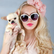 Beautiful woman with chihuahua in hands - Stok fotoğraf