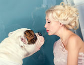 Woman and a dog — Stock Photo