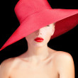 Portrait of a beutiful lady in red hat — Stock Photo #32716253