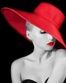 Fashionable woman in red hat — Foto Stock