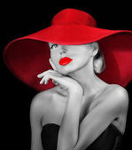 Romantic woman in hat — Foto Stock