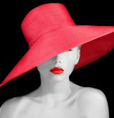 Sensual young lady in red hat — Stock Photo