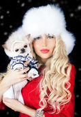 Beautiful blonde woman with small dog — Stock Photo
