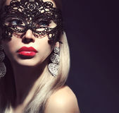 Beautiful woman in mask — Foto Stock