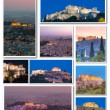 Collage of monuments in Athens by night — Stock Photo