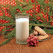 Foto Stock: Glass of milk for Santa, close-up