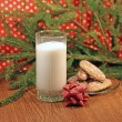 图库照片: Glass of milk for Santa, close-up