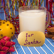 Milk for Santa on Christmas Eve, close-up — Stock Photo