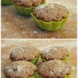 Royalty-Free Stock Photo: Collage of delicious cupcakes in tins for baking, close-up