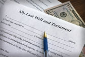 Last Will and Testament form with pen, close-up — Stock Photo