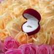 Gift box with gold ring on beautiful roses background, close-up — Stock Photo #18971865