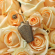 Stock Photo: Metal perfume bottle on beautiful roses background