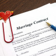 Marriage contract with pen, close-up — Stock Photo