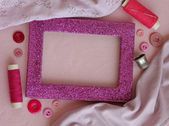Sewing kit in pink, close-up — Stock Photo