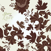Love Flowers Elegant Ornamental Card in Japanese Style — Stockvector