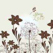 Láska květiny elegantní karta s pampelišky v japonském stylu — Stock vektor