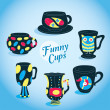 Vector Cute Funny Cups Collection — Stock Vector #12731049