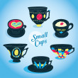 Vector Elegant Small Cups Collection — Stock Vector