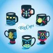 Vector Beautiful Big Cups Collection — Stock Vector
