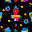 Royalty-Free Stock Vector Image: Cakes Futuristic Seamless Pattern with Coffee Cup, Strawberry and Peach