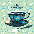 Vector Elegant Cup of Coffee Card Illustration With Spoon and Lemons - Stock Vector