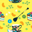 Royalty-Free Stock Vector Image: Cakes Seamless Pattern with Coffee Cup, Flowers, Oranges, Kiwi and Pineapple