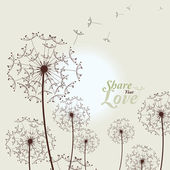 Love Card With Dandelions — Stock Vector
