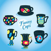 Vector Cute Funny Cups Collection — Stock Vector