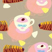 Modello senza saldatura torte con tazze di caffè e ananas — Vettoriale Stock