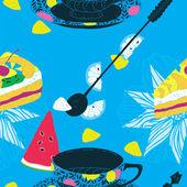 Wzór ciasta z filiżanki kawy, arbuz, cytryny i ananasem — Wektor stockowy