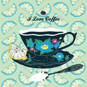 Vector Elegant Cup of Coffee Card Illustration With Spoon and Lemons — Stock Vector