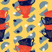 Vektor eleganta kopp kaffe citrus seamless mönster med kaffebönor och citroner — Stockvektor