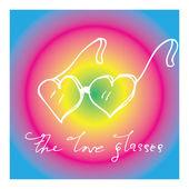 Pop sanat vektör kartı ile aşk gözlük — Stok Vektör