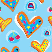 Heart Cookies Pattern With Candy and Cherry — Stock Vector