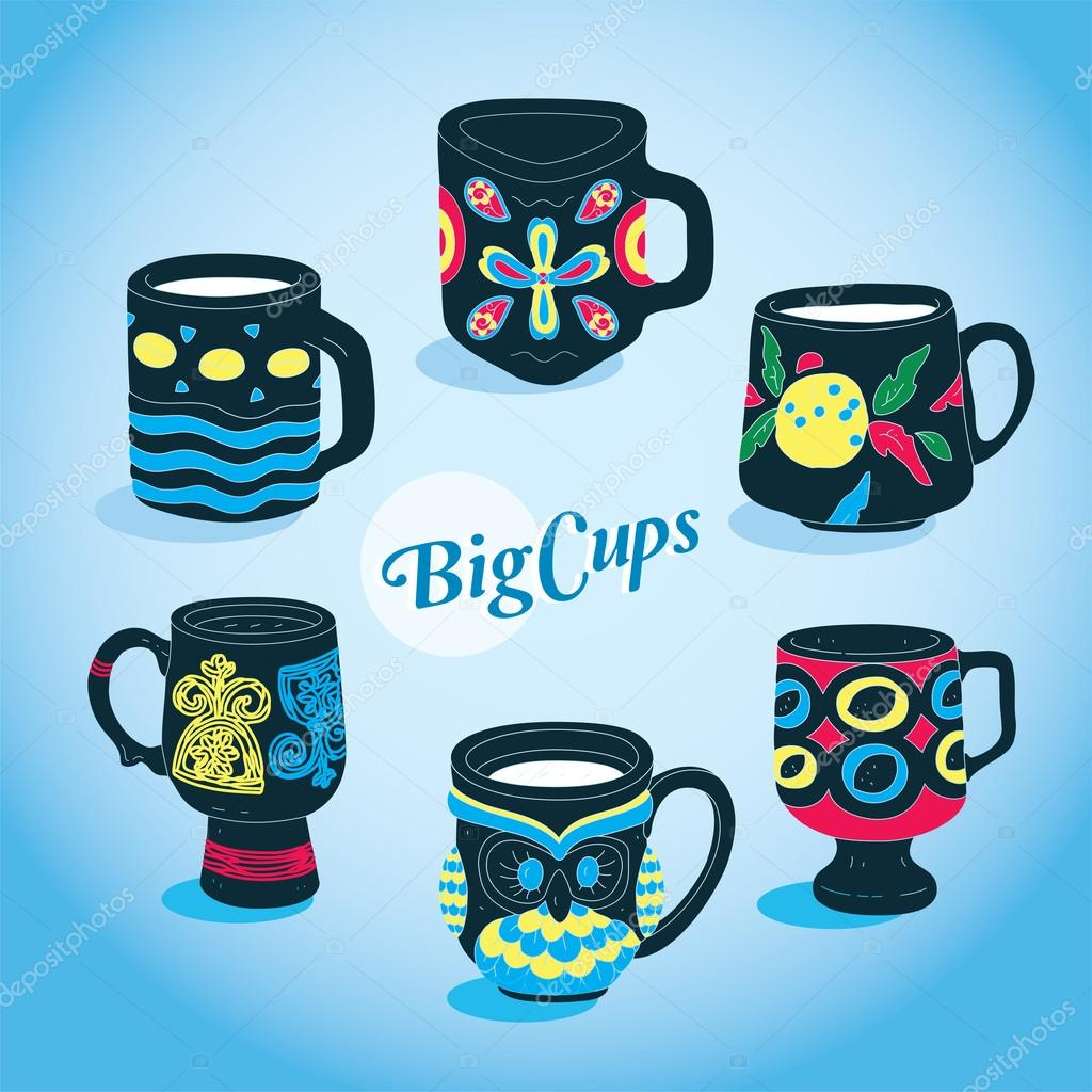 Vector Beautiful Big Cups Collection — Stock Vector #12731067