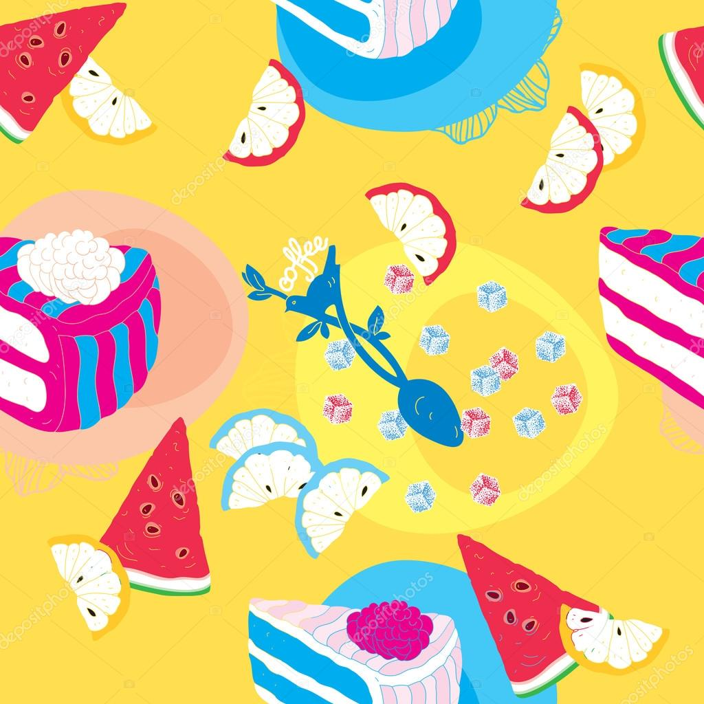 Cakes Seamless Pattern With Spoon Lemons and Watermelon  — Stock Vector #12731194