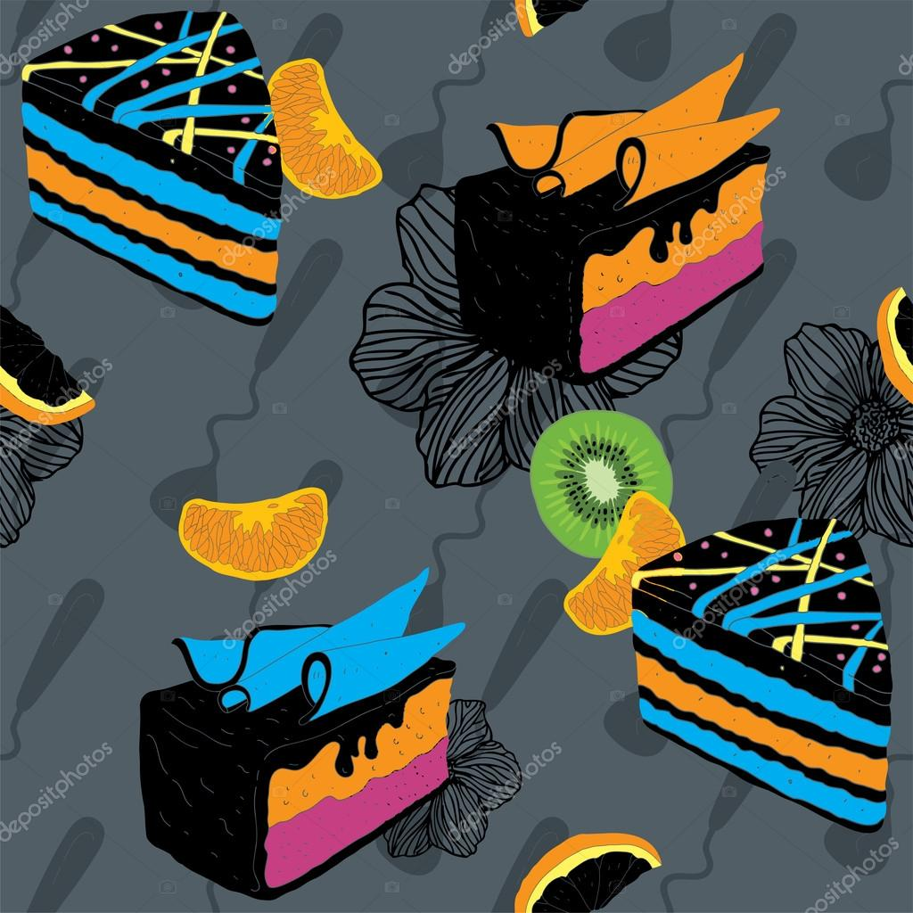 Cakes Seamless Pattern With Spoon Kiwi and Orange  Stock Vector #12731496
