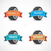 Conjunto de cuadros coloridos, pegatinas, etiquetas con la ilustración de la rueda — Vector de stock