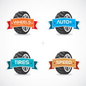Set of Colorful Frames, Stickers, Labels With Wheel Illustration — Vecteur