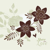 Love Flowers Elegant Card in Japanese Style — Stock Vector