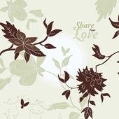 älska blommor eleganta kort i japansk stil — Stockvektor