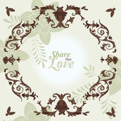 Love Flowers Elegant Card in Japanese Style — Stockvector